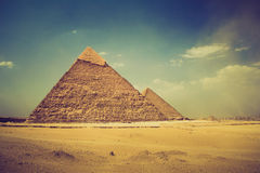 View of the Giza Pyramids. Egypt. Royalty Free Stock Photo