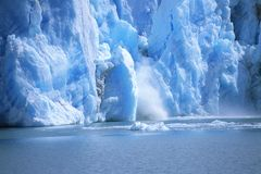 View of a glacial ice avalanche, Argentina Stock Photography