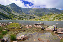 View of a glacial lake in national park Rila, Bulgaria Royalty Free Stock Images