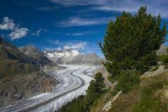 View on a glacier Aletsch. Wallis, Switzerland stock photography