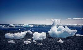 View of the glacier lagoon, Jokulsarlon, Iceland Stock Photo