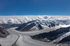 View of the glacier from the peak of the swiss alps royalty free stock images