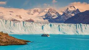 View of glacier Perito Moreno in Patagonia and touristic boat. South America, Autumn Stock Image