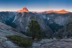 View from Glacier Point, which is the most spectacular viewpoint in Yosemite National Park, California, USA Half Dome royalty free stock photos