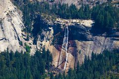 The view from Glacier Point in Yosemite National Park. Half Dome, Vernal Falls lower and Navada Falls upper stock photos