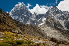 View of glaciers in Cordillera Blanca mountain range, Peru. View of glaciers in Cordillera Blanca mountain range, Huascaran NP, Peru royalty free stock image