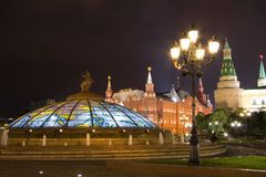 View of Glass cupola and Kremlin Wall at night Stock Photography
