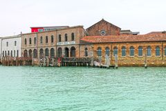 View on glass factory on the island of Murano. stock photography