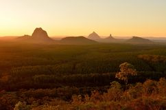 Glass House Mountains at sunset in Queensland, Australia. View of Glass House Mountains including Tibrogargan, Cooee, Beerwah, Coonowrin and Ngungun across pine Royalty Free Stock Photo