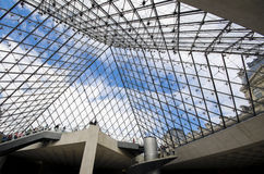 View of the glass pyramid in Louvre Royalty Free Stock Photo