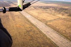 View from glider on the runway Stock Photos