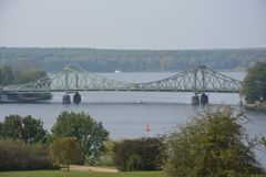 View of Glienicke bridge over the river Havel in Berlin, also called spy bridge stock photography