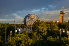 View of the globe in Flushing Meadows corona park in Queens New York Stock Photos