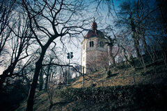 View of Glockenturm tower on Schlossberg hill, Graz Royalty Free Stock Images