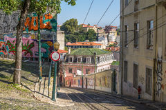 View of gloria funicular street in Lisbon, Portugal, Europe Royalty Free Stock Photo