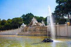 View on Gloriette and Neptune fountain in Schonbrunn Palace Royalty Free Stock Photos