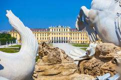 View on Gloriette and Neptune fountain in Schonbrunn Palace Stock Image
