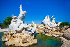 View of Gloriette and Neptune fountain in Schonbrunn Palace Royalty Free Stock Photo