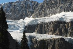 Canada- Magnificent View of Beautiful Glaciers Along the Icefields Parkway stock photography