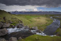 View from Gluggafoss waterfall in South Iceland Royalty Free Stock Images