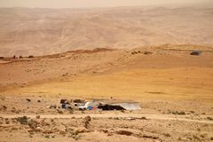 Goat shepherds camp in Jordan royalty free stock photography