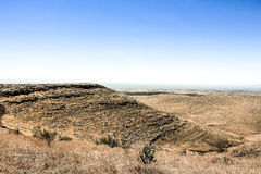 View from Gobekli Tepe. The ridgeline on the plateau where Rock Temple-Enclosure E and Gobekli Tepe (Potbelly Hill) are situated Stock Images