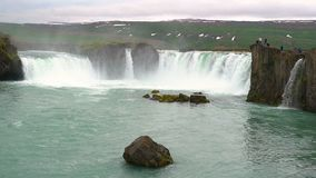 View of Godafoss or waterfalls of god stock video footage