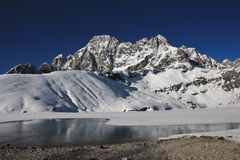 View from Gokyo, lake and high mountain Stock Image