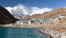 View of Gokyo lake and village with mount Cho Oyu Royalty Free Stock Photo