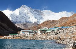 View of Gokyo lake and village with mount Cho Oyu Royalty Free Stock Image