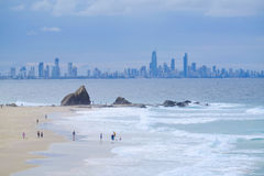 View of Gold Coast high rise buildings from Currumbin Royalty Free Stock Photos