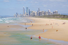 View of Gold Coast high rise buildings from The Spit Royalty Free Stock Photography