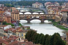 View of Gold Ponte Vecchio Bridge Royalty Free Stock Photo