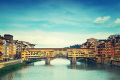 View of Gold (Ponte Vecchio) Bridge Royalty Free Stock Images