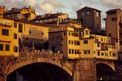 View of Gold Ponte Vecchio Bridge in Florence Arno river stock photography