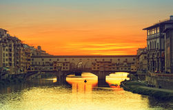 View of Gold (Ponte Vecchio) Bridge in Florence Stock Photography