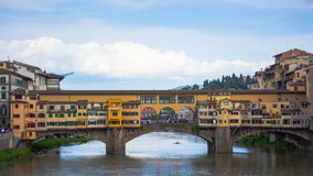 View of Gold (Ponte Vecchio) Bridge in Florence. Timelapse stock video footage