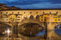 View of Gold (Ponte Vecchio) Bridge at night in Florence Royalty Free Stock Photo