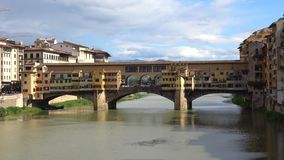 The view of the Golden bridge, september day. Florence, Italy stock video footage