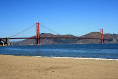View of the Golden Gate Bridge from the Beach. Beautiful view of the Golden Gate Bridge from the beach.  Located in San Francisco, California Royalty Free Stock Photos
