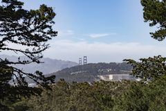 View of Golden Gate Bridge from Buena Vista Park. Follow the Buena Vista Park trails to the top and be rewarded with stunning San Francisco city views. From this Royalty Free Stock Photography