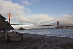 View of Golden Gate bridge from Kirby Cove campground Royalty Free Stock Image