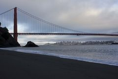View of Golden Gate bridge from Kirby Cove campground Stock Image