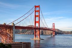 View of the Golden Gate Bridge . San Francisco, California, USA. Bay red blue sky travel architecture tower structure ocean transportation landmark america city royalty free stock photo