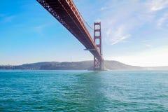 View of the Golden Gate Bridge . San Francisco, California, USA. Beach blue travel sea architecture orange reflection city tourism ocean urban landmark tower stock photography