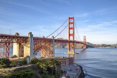 View of the Golden Gate Bridge . San Francisco, California, USA. Beach blue travel sea architecture orange reflection city tourism ocean urban landmark tower royalty free stock photos