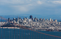 View on Golden Gate bridge and San Francisco Stock Images