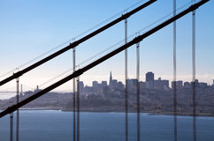 View through the Golden Gate Bridge on San Francisco. Skyline of the city in California Stock Photography