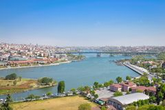 The Golden Horn Bay. View of the Golden Horn Bay from a height in Istanbul stock photography