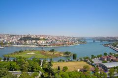The Golden Horn Bay. View of the Golden Horn Bay from a height in Istanbul stock image